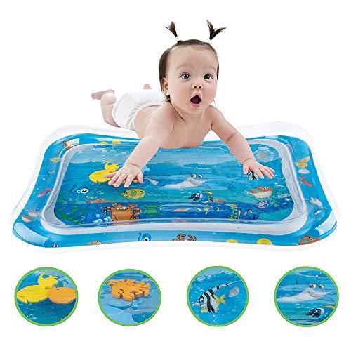 Kyhon Alfombra de Agua para bebé, con Elementos flotantes móviles, Juguete Hinchable, Centro de Actividad, Tiempo de Vientre para niños, bebés, niños pequeños, Juguete para el Crecimiento de niños