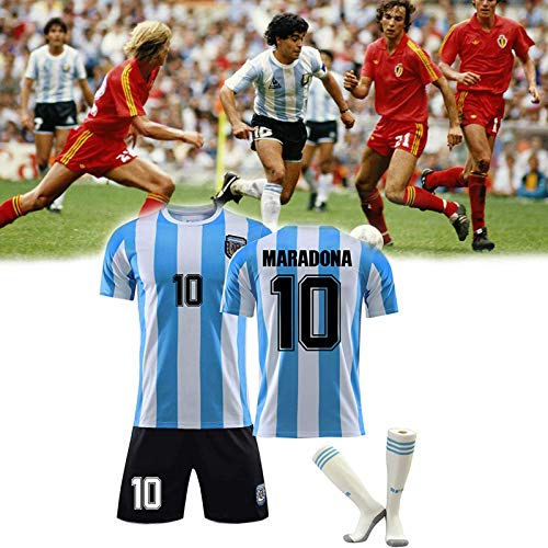 Shhjjyp Maradona Diego (Napoli Et Argentine) T-Shirt De Football 1986 Argentina World Cup Legend Football Jersey Quick-Drying Fans Retro Sweatshirt T-Shirt and Shorts+Sock,Adult XXL
