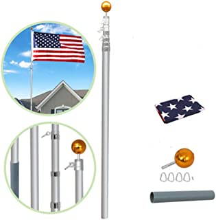 Supole Extra Thick 25FT Telescoping Flag Poles kit Can Fly 2 Flags, Heavy Duty Aluminum Flagpole with 3'x5' US American Polyester Flag & Golden Ball for Outdoor Commercial or Residential, Silver