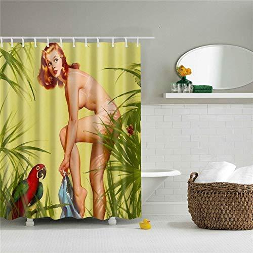 N / A Sexy Frau gedruckt Duschvorhang Bad Vorhang Stoff Spaß wasserdichter Spitzenschirm mit Ringen wasserdicht und Schimmel Duschvorhang A4 90x180cm