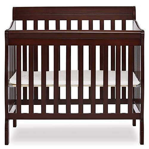 Dream On Me Aden 4-in-1 Convertible Mini Crib in Espresso, Greenguard Gold...