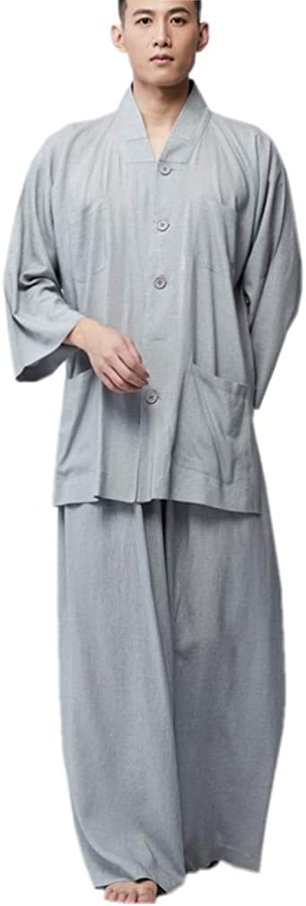 ZanYing Men Causal Suits Meditation Monk Buddhist Loose Suits Wide Leg Grey
