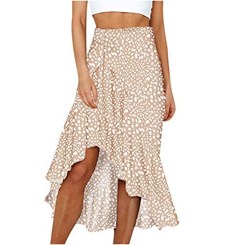 Liably Falda holgada Y2K de cintura alta con pliegues divididos, estilo informal con volantes impresos, línea A, ropa de calle, bohemio retro, minifalda para mujer beige M