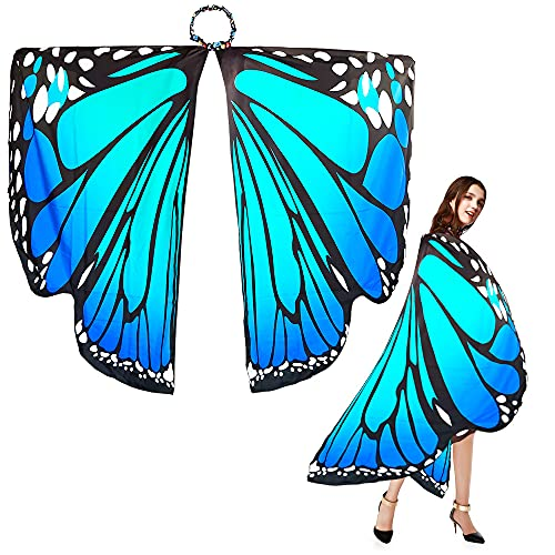EMAGEREN Chal de Alas de Mariposa Disfraz Mariposa para Mujer Alas de Mariposa Adulto Traje de Mariposade Tela SuaveAccesorio para Disfraz de Carnaval/Pascua/Fiesta/Baile - Multicolor, 168 * 135cm