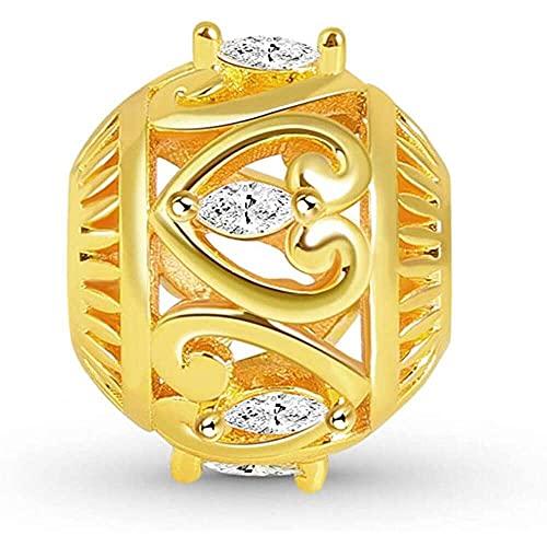 chaosong shop Abalorio de plata de ley chapada en oro de 18 quilates con forma de marquesa y corazón hueco, para pulsera, para mujeres y niñas