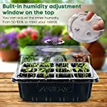 """Mixc 120 cells seed trays seedling starter tray humidity adjustable plant starting kit with dome and base greenhouse… 13 keep an eye on your growth: the only design in the market- high quality clear plastic trays of this seed grow kit make it easy to observe your plants without interrupting the process total control: adjustable vents of this seed trays allow you to regulate the temperature and humidity of your seedling environment, so you have total control over the growing process perfect size for seed starting: size of the cells: 1. 5""""in length and 1. 5""""in wide, these seed trays are suitable for small seeds, such as flowers, vegetables, fruits, tobacco and other plants."""