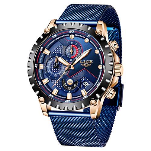 Herrenuhren Wasserdicht Sport Chronograph Datum Mesh Edelstahl Blau Armbanduhr Luxury Business Analoge Uhren für Männer