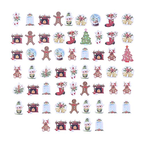 LIXBD 50 Stück Weihnachts-Knöpfe aus Holz, verschiedene Knöpfe, Rentier, Glöckchen, Elfenform, Knöpfe mit 2 Löchern, Knöpfe für Heimwerken, Nähen, Basteln, Kleidung