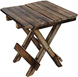 Indian Karigars Wooden Handicarft Folding Stool for Living Room Side Table 12Inch.(Brown)