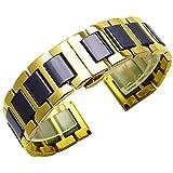 Kai Tian Correas de reloj de cerámica negra Correa reloj 22mm de oro de repuesto Reloj de pulsera de acero inoxidable Reloj de correa de metal para hombre