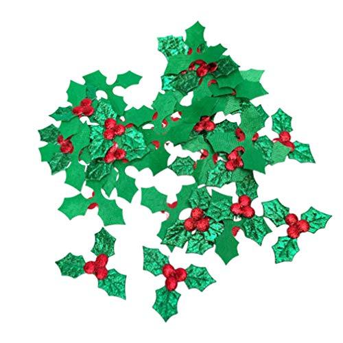 LIOOBO 200 Piezas de Hojas de Bayas de Acebo Artificiales Bayas Rojas Falsas para Manualidades de Bricolaje arreglo de Navidad Decoraciones de guirnaldas Suministros para Fiestas navidenas tamano s