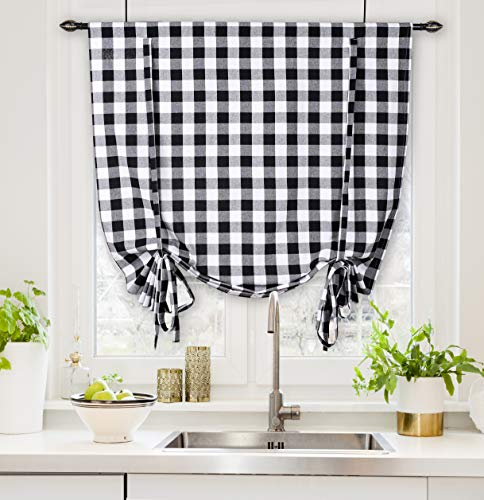 """Bedding Craft Cotton Classic Country Farmhouse Kitchen Half Window Curtains with Ties -Black & White Buffalo Check Tier Ties Curtain, Short Curtain for Bathroom Half Window with Ties- 42"""" x 63"""""""