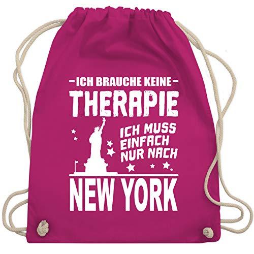 Städte - Ich brauche keine Therapie Ich muss einfach nur nach New York - weiß - Unisize - Fuchsia - tasse new york - WM110 - Turnbeutel und Stoffbeutel aus Baumwolle