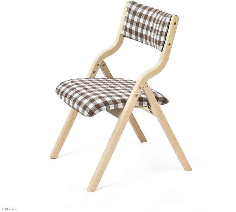QIQI-LIFE Simple Wood Folding Chair Soft Cloth Cushion Dining Chair Desk Chair (color   Lattice)