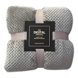 Iusun Plaid Fleece Bed Blanket Square Soft Warm Scarf Tapestry Towel Large Mesh Flannel Blankets Thick Breathable for Home Office (Gray, S-17.7X 25.5inch)