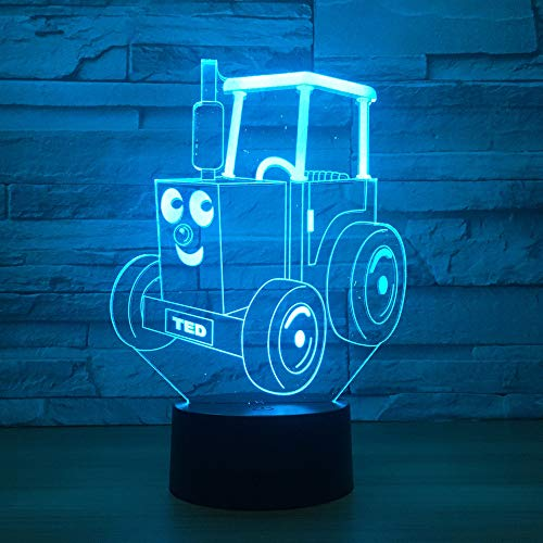 Lampada LED 3D con telecomando USB, luce notturna, 7 colori, con telecomando, proiezione su supporto in acrilico, alimentazione con micro USB/3 batterie AAA Trattore cartoni animati