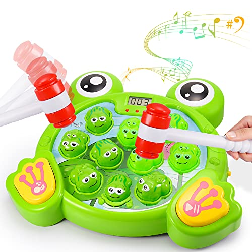 Whack a Frog Game for Kids, Interactive fun Whacking a Mole Games for 3-8 Year Old Boys Helps Fine Motor Skills Toys with 2 Hammers for Boy&Girl Age 3-8 Learning Coordination Game Pounding Toy Durable