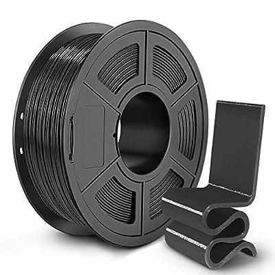 SUNLU PETG 3D Printer Filament, 3D Printing PETG Filament 1.75 mm, Strong 3D Filament, 1KG Spool (2.2lbs), Black