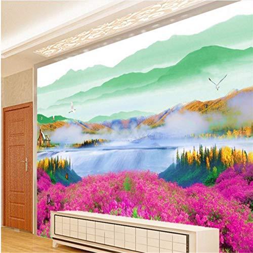 Wuyii aangepaste achtergronden Rhododendron bloem zee punt wolk zee tv-achtergrond sjabloon 3D behang voor kamers aanvallen 400 x 280 cm.