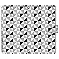 Xperia 1 III A101SO ケース [デザイン:4.モノクロ/マグネットハンドあり] 市松模様 和 モダン レトロ xperia1iii エクスペリア1 マーク3 a101so 手帳型 スマホケース スマホカバー 手帳 携帯 カバー