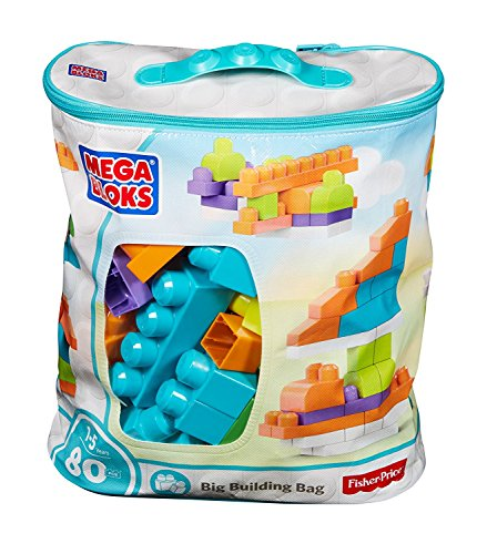 Mega Bloks First Builders Big Building Bag with Big Building Blocks, Building Toys for Toddlers (80 Pieces), Amazon Exclusive