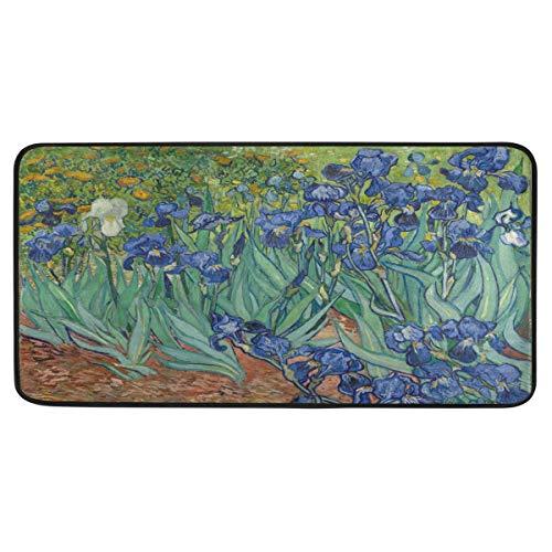 Vipsa Area Rugs - Alfombra Rectangular de poliéster Antideslizante para Cocina (99 x 51 cm), diseño de Lirios de Van Gogh's