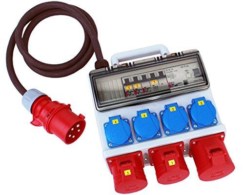 Stromverteiler 32A 400V 4 x 230V 2 x 16A 1 x 32A FI-Absicherung Verteiler Baustromverteiler H07RN-F 5x4mm