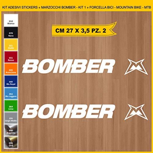 Pimastickerslab Aufkleber für Fahrrad, Gabel – Marzocco Bomber – Set mit 2 Aufklebern – Farbe – Fahrrad Cycle Pegatina Code .0994, Weiß (010 Bianco)