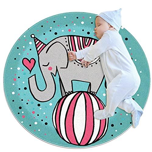 Lindo circo elefante jugando bola antideslizante área de respaldo alfombras para dormitorio redondo absorbente alfombras mujeres Yoga alfombra entrada alfombra niño juego piso Mat