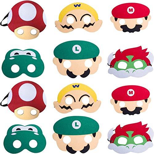 WENTS Super Mario Máscaras de Animal de Fieltro para Niños con Cuerda Elástica Máscaras de Ojos para Cosplay Fiesta Halloween Navidad 12 Piezas