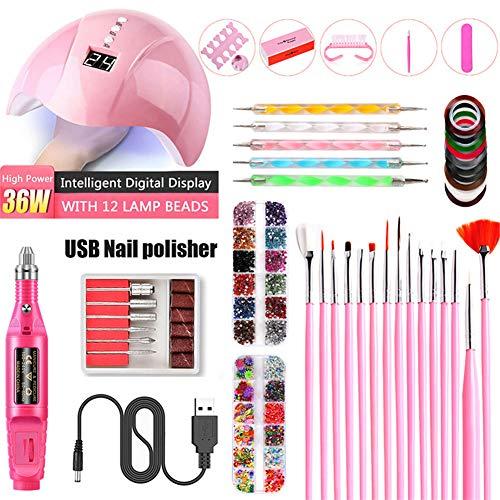 Nail Electric SA, UV Lampe de photothérapie, Nail Sticker Drill Tool Set, Les meilleurs cadeaux pour les filles de femmes,Rouge
