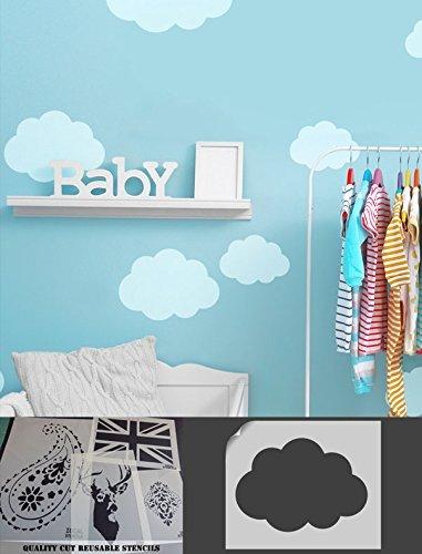 Cloud Pochoir, Home, peinture murale de décoration, chambre d'enfant Thème Ciel, Art Craft Idéal Pochoirs Ltd, CLOUD M/26X36CM