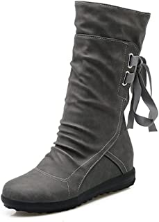 Women's Winter Back Lace up Boot Mid Calf Snow Boots