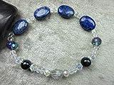 Genuine Blue Tigers Eye, Lapis Lazuli and Herkimer Diamond Quartz Healing Bracelet Intuition Bliss