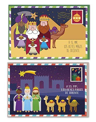 Blister 3 cartas de Reyes, carta de reyes sobre, 16,3 x 11 cm -Arguval