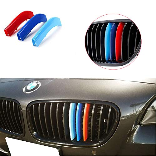 Lanyun M Colors 5 Series Grille Insert Trims Decorate for 2010-2016 BMW F10 F11 5 Series 528i 535i 550i with M-Performance Black Kidney Grill (10-16 F10 F11 5 Series 12-Beam Grille Insert M-per)