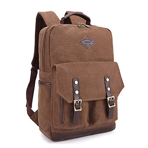 EcoCity Vintage Canvas Leather Laptop Rucksack Backpack For College/School BP0004B2 (Brown)