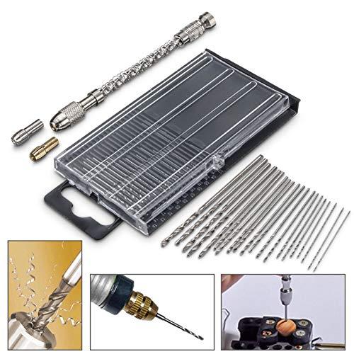 LSTGJ Mini-boormachine met boorhouder, 20 stuks, 0,3-1,6 mm, rechte schacht, Twist Drill Bits gereedschapsset voor elektrisch knutselen
