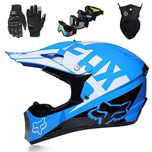 Casco de Moto Niños, Conjunto de Cascos de Moto Unisex (4 piezas) Casco Cruzado de Motocross para Jóvenes & Adultos con Diseño FOX - Azul
