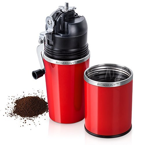 Travel Coffee Grinder Set ROMAUNT All In One Portable Manual Grind Brew Coffee Maker Single Serve 2X Stainless Steel Mug Ceramic Burr Brewer Gift (Red)