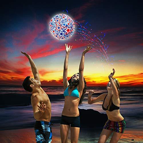 SwimWays 6045218 - Light Up Beach Ball, beleuchteter Wasserball mit Stern Design, Durchmesser 35, 5cm