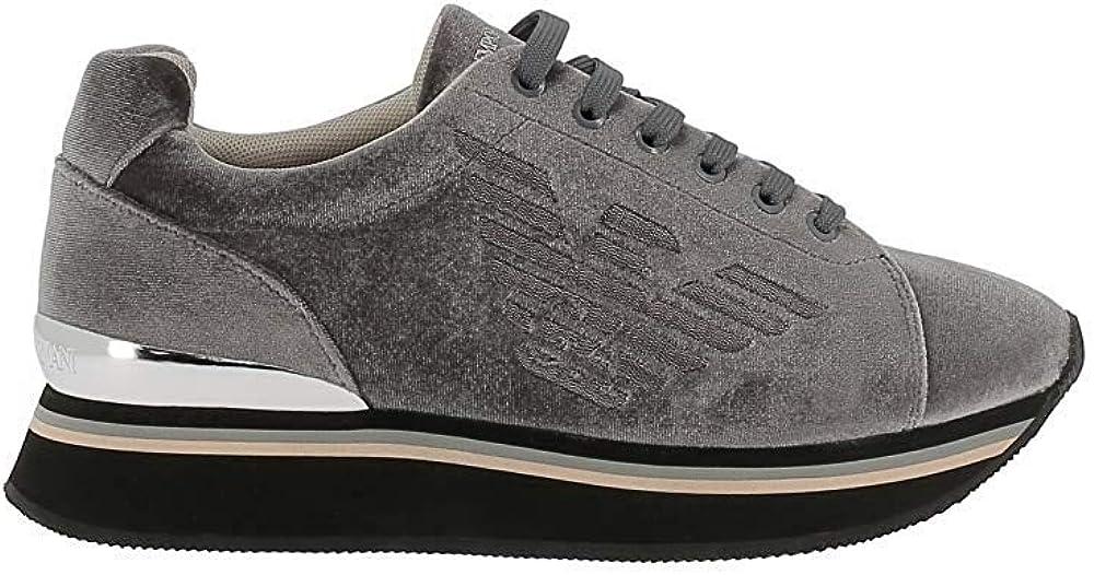 Emporio armani, sneakers per donna grigia, in velluto X3X057XM064N727