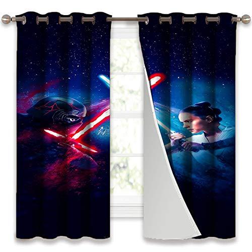 SSKJTC Cortinas con bloqueo de sonido Star Wars Rey vs Kylo Ren cortinas para habitación de niños, 140 x 100 cm (ancho x largo x largo).