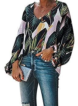 Biucly 2020 Women s Casual Boho Floral Print V Neck Long Sleeve Stylish Drawstring Green Tops Loose Green Blouses Shirts