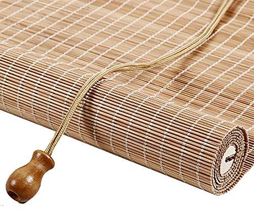 Bambú Estores Enrollables Persianas Enrollables de Bambú con Ventanas de 90 cm de Ancho, Persianas Enrollables Filtrantes de Luz de Estilo Japonés con Accesorios y Ganchos, Estudio Interior Oficina Ba