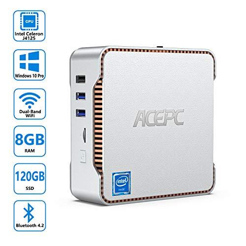 ACEPC AK3 Mini-PC Windows 10 Pro, 8 GB DDR4 / 120 GB mSATA-SSD, Intel Celeron J4125-Prozessor (bis zu 2,7 GHz) Desktop-Computer, Unterstützung von 2 HDMI/VGA-Anschlüssen, 4K UHD
