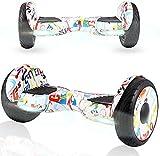 HappyBoard Hoverboard Patinete Eléctrico 10 Pulgadas,Motor de 700W,Altavoz de música Bluetooth,Auto-Equilibrio,Luz LED,Scooter Electrico para Niños y Adultos(Hiphop)