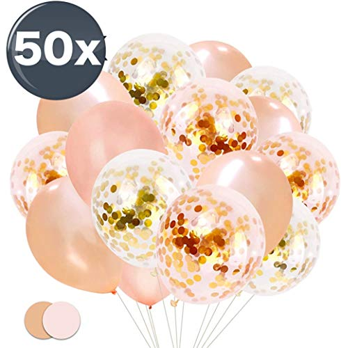 TK Gruppe Timo Klingler 50x Luftballons mit Konfetti Confetti Glitter Rose, Gold Rosegold Ballons, Helium geeignet als Deko zu Hochzeit & Geburtstag (50x Konfetti)