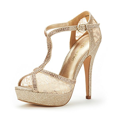 DREAM PAIRS Women's Swan-16 Gold Fashion Stilettos Peep Toe Pump Heeled Sandals Size 5 B(M) US