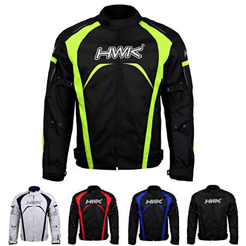 Motorcycle Jacket Men's Riding HWK Textile Racing Motorbike Hi-Vis Biker CE Armored Waterproof Jackets (Hi-Vis Green, L)